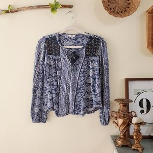 Lucky Brand Beaded Lace Peasant Top Blue XS